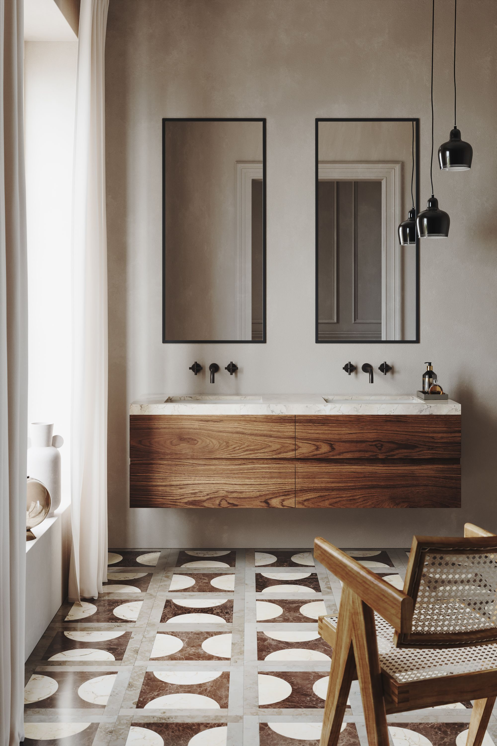 Design by Vanitas Studio - using a unique tile pattern to be the feature of the bathroom.